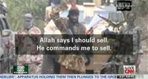 """""""Ada pasar untuk menjual manusia. Allah mengatakan bahwa aku harus menjual mereka. Ia memerintahkanku untuk menjual. Aku akan menjual wanita. Aku akan menjual wanita"""", katanya."""