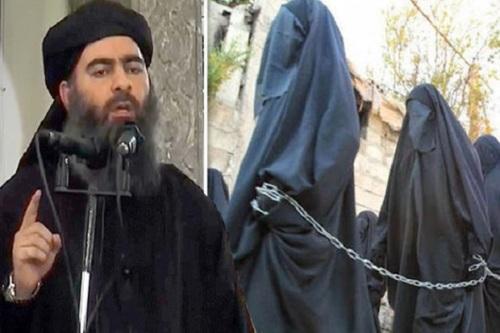 Baghdadi (kiri), dan tawanan yang jadi budak seks Islami (kanan).